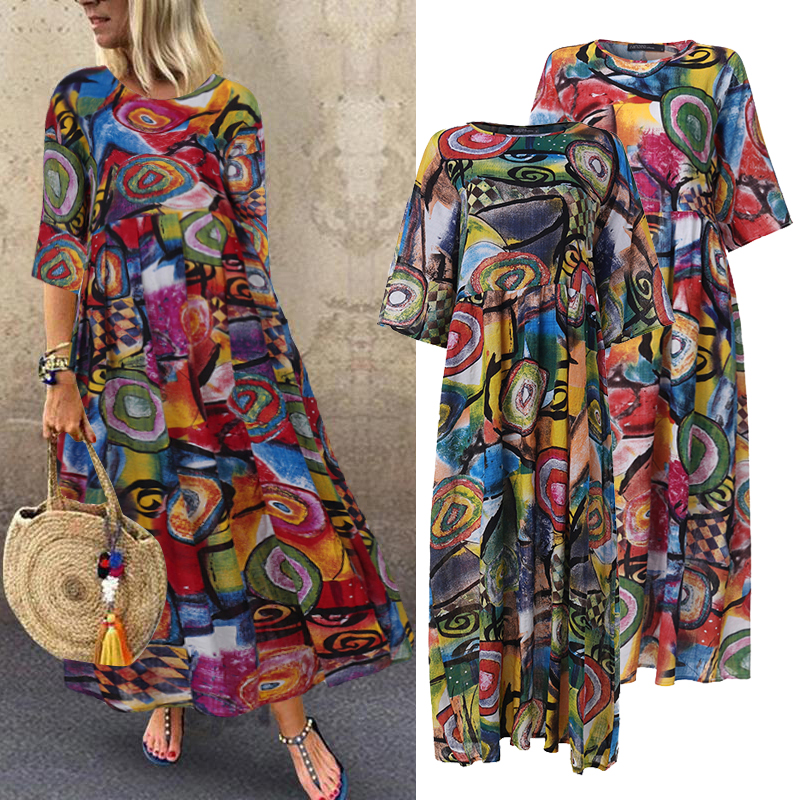 ZANZEA 2020 Fashion Printed Maxi Dress Womens Summer Sundress Vintage 3/4 Sleeve Long Vestidos Female Casual Party Robe Femme