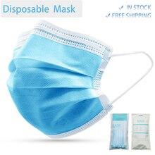 3 طبقة أقنعة الوجه غير المنسوجة المتاح تنفس الفم أقنعة آمنة مقاوم للماء أقنعة الوجه الفم