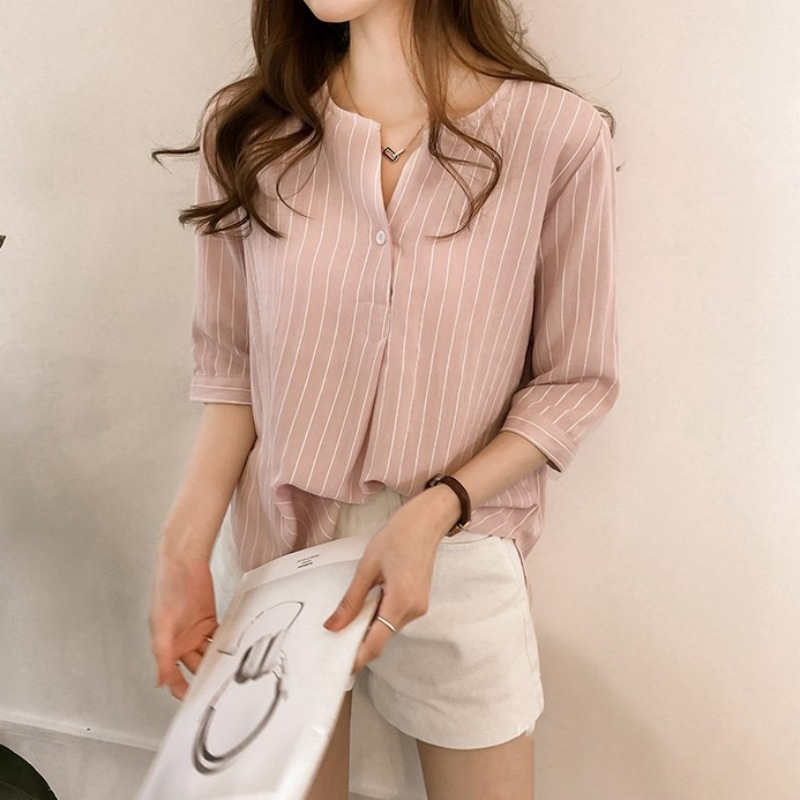 Women Tops and Blouses Fashion Summer O Neck Short Sleeve Striped Shirts Button Blouse