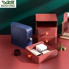 WBBOOMING Plastic Desktop Drawer Box Office Cosmetics Locker Small Box Desk Shelf Dormitory Magic Storage Box Creative Design