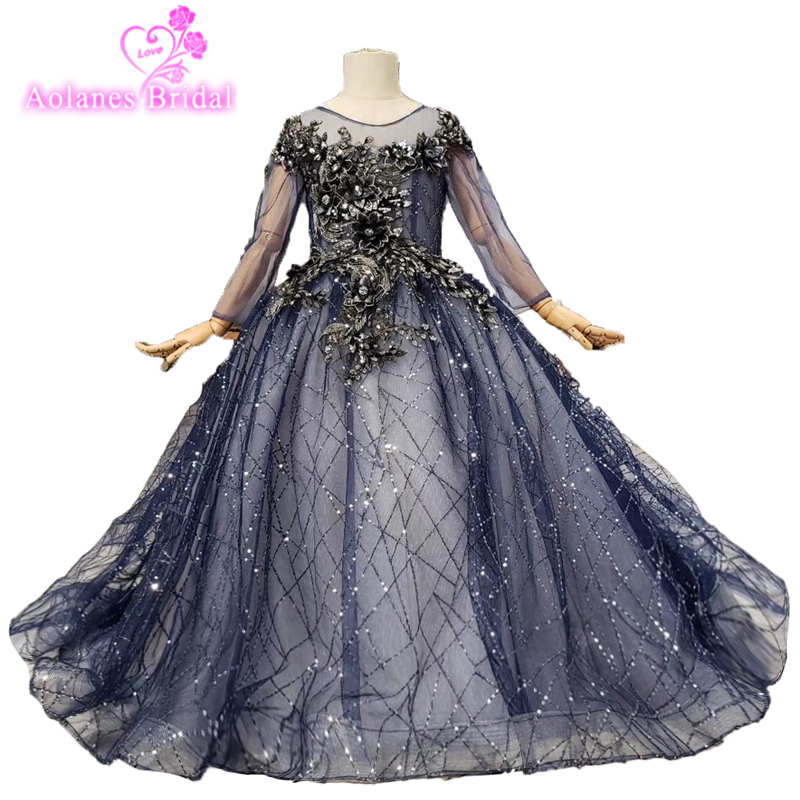 Blue Glitters 2019 Flower Girl Dresses For Weddings Ball Gown 3d Flowers Shiny Fashion First Communion Dresses For Little Girls