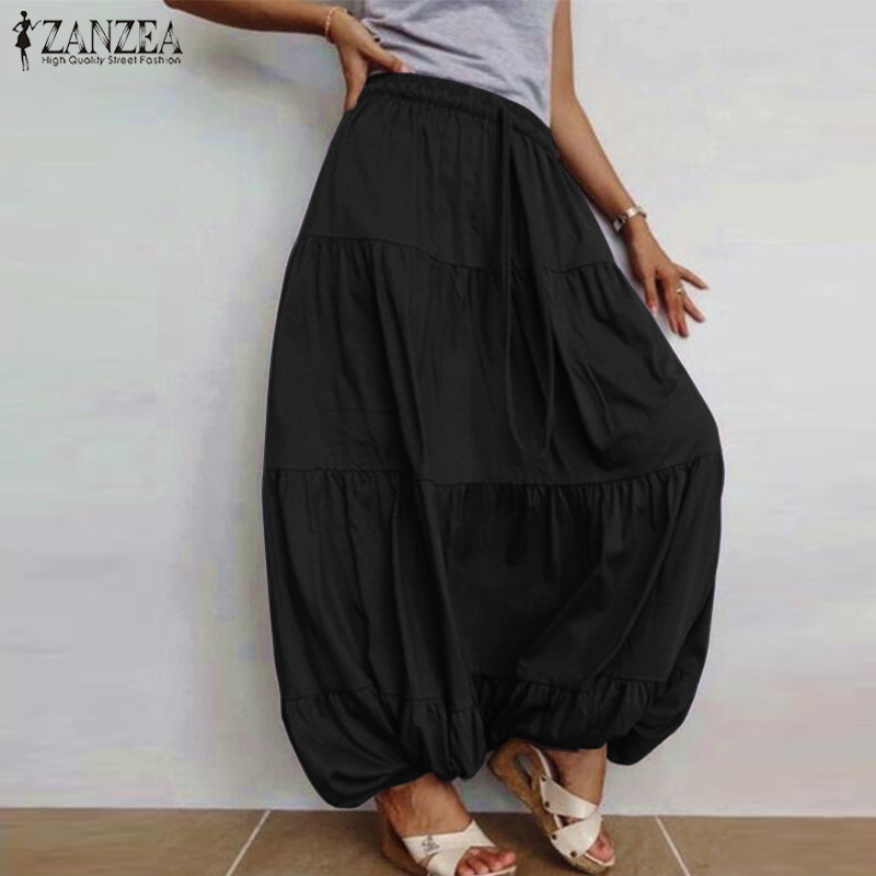 ZANZEA 2019 Women's Skirts Fashion Casual Ruffle Vestidos Faldas Saia Female Drawstring Solid Skirt Elastic Waist Robe Oversized