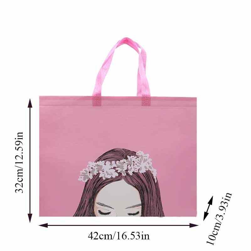 비 짠 핑크 귀여운 소녀 쇼핑 가방 재사용 가능한 주머니 여행 스토리지 핸드백 여성 토트 백 패션 여성 에코 식료품 가방