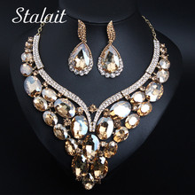 Big Sweet Love V Style Water Drop Oval Crystal Pendant Necklace Earrings Bridal Jewelry Women Girls Fashion Sets