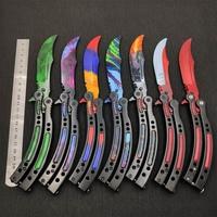 Cuchillo de entrenamiento de acero inoxidable con diseño de mariposa, cuchillo plegable con diseño de mariposa CS GO, sin filo
