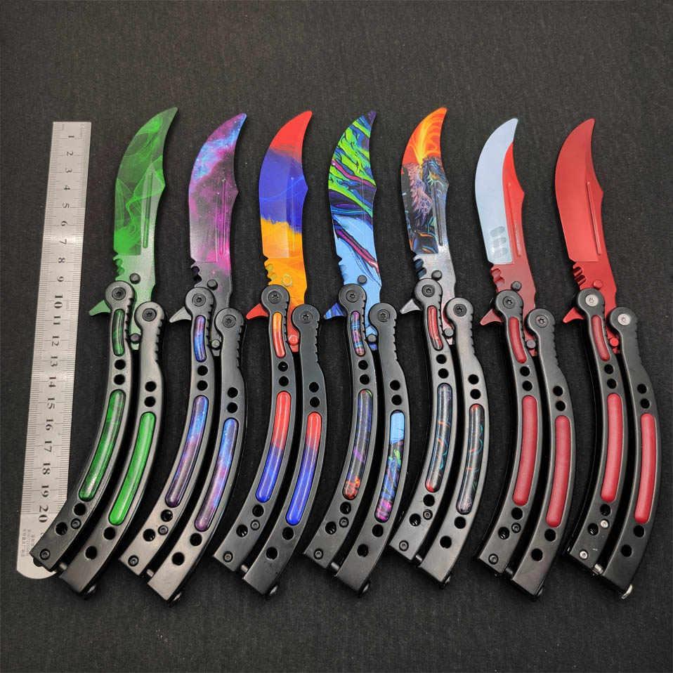 Farfalla in knife coltelli formazione in acciaio inox coltello a farfalla CS ANDARE coltello Counter Strike gioco pieghevole Coltello no bordo opaco strumento