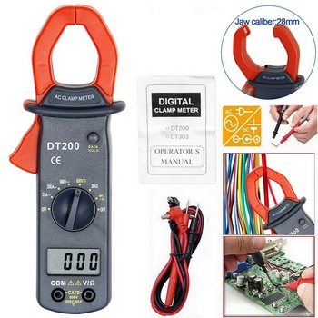 ABS Digital Voltage Clamp Meter Handheld Digital Multimeter Multifunctional DT200 Digital Multimeter Large Screen image