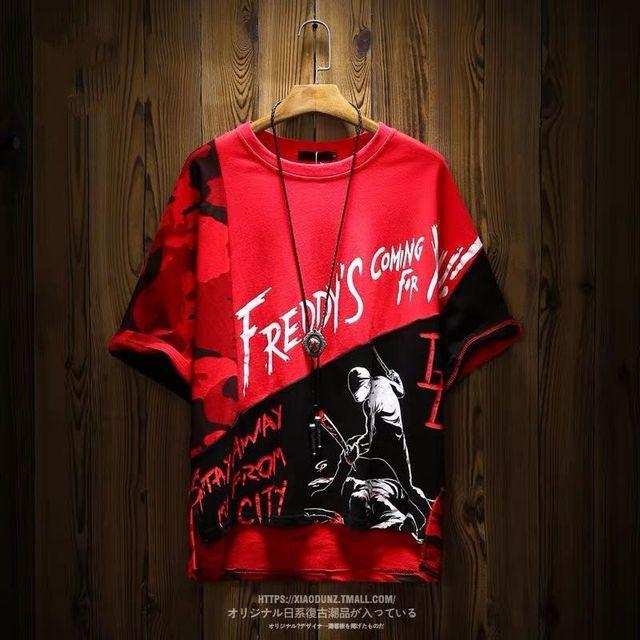 Camiseta de algodón con estampado de Hip Hop para hombre, camisa de manga corta a la moda, estilo rapero, Anime callejero japonés 2