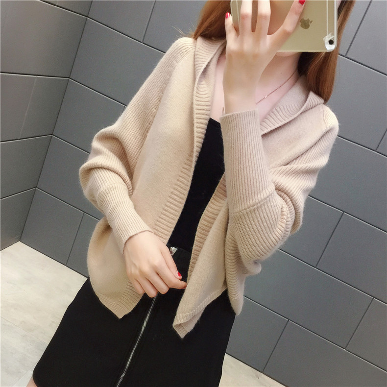 2019 Free send New style Korean loose and comfortable Autumn women Cardigan Sleeve of bat Hooded Sweater coat 119