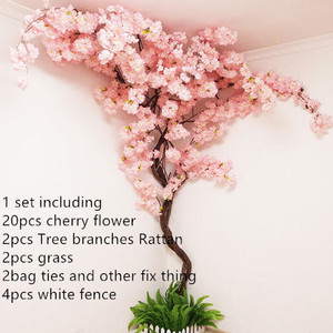 Juego de cerezos artificiales con flor de cerezo Artificial, juego de ratán para decoración de sala de estar en casa
