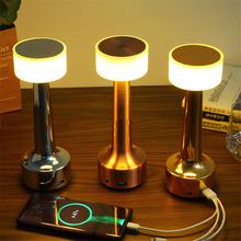 Czujnik dotykowy stolik barowy lampy sypialnia akumulator akumulatorowy lampa na stolik nocny restauracja złoto ledowe stojąca lampa oprawy tanie tanio Thrisdar ROHS CN (pochodzenie) Łóżko pokój Srebrny W górę iw dół TD-MoGuBai-GuT-WW Brak iron Ue wtyczka 12 v Dotykowy włącznik wyłącznik