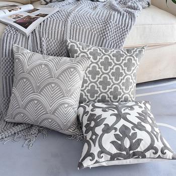 1PC Nordic Geometrische Kissen Abdeckung Emboridered Grau Leinwand Baumwolle Stickerei Kissen Abdeckung Sofa Auto Hause Dekorative 45x45cm