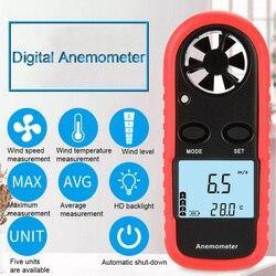 Mini wysoka dokładność miernik prędkości wiatru anemometr cyfrowy termometr ręczny do pomiaru wiatr prędkość temperatura