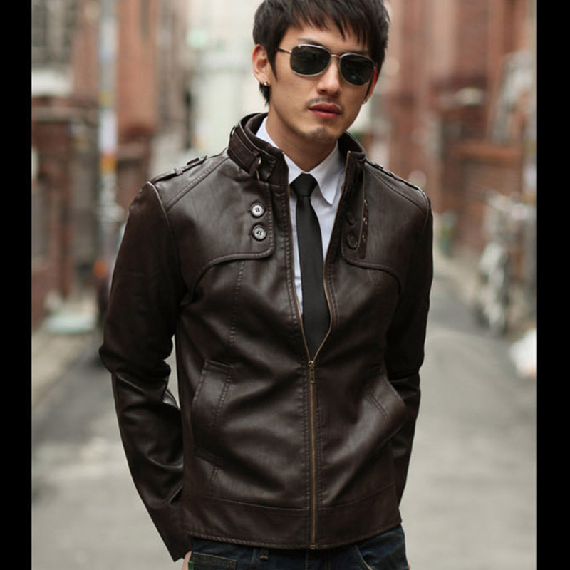 Korean-style Coat Men's Stand Collar Slim Fit Casual Leather Coat MEN'S Leather Jacket Men's Locomotive PU Jacket MEN'S Outerwea