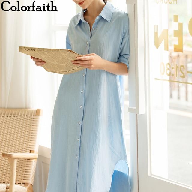 Colorfaith nouveau 2019 femmes robes automne printemps lâche décontracté taille haute droite longue robe solide simple boutonnage DR8821