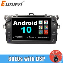 Eunavi TDA7851 2 Din Android 10 voiture lecteur dvd multimédia gps pour Toyota Corolla 2007-2011 1024*600 auto radio stéréo audio