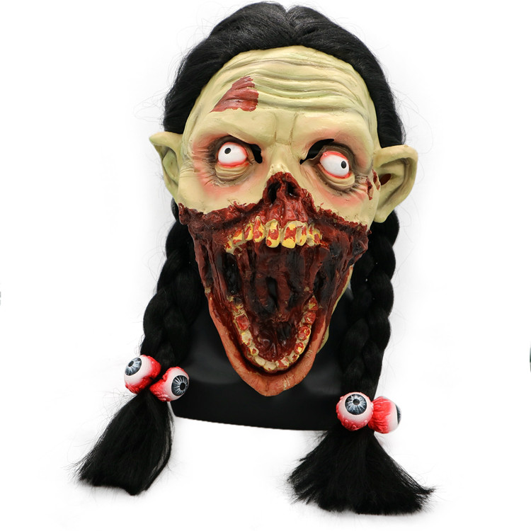 Halloween Masks Scary 2019 Cosplay Scary Zombie Latex Mask With Hair Cosplay Helmet Halloween Costume K923