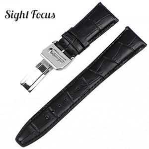 Image 3 - 22mm Mens Blue Watch Band for IWC Calf Leather Watch Strap Alligator Croc Grain CHRONOGRA Bracelet Belt Long Short VersionBand