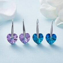 Женские серьги Warme Farben с кристаллами Swarovski, S925, серебристые, синие, в форме сердца, серьги-капли, хорошее ювелирное изделие, вечерние серьги