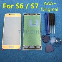 Original หน้าจอเปลี่ยนเลนส์กระจกด้านหน้าสำหรับ Samsung Galaxy S7 G930 G930F S6 G920 G920F Touch แผงกระจก + กาวเครื่องมือ