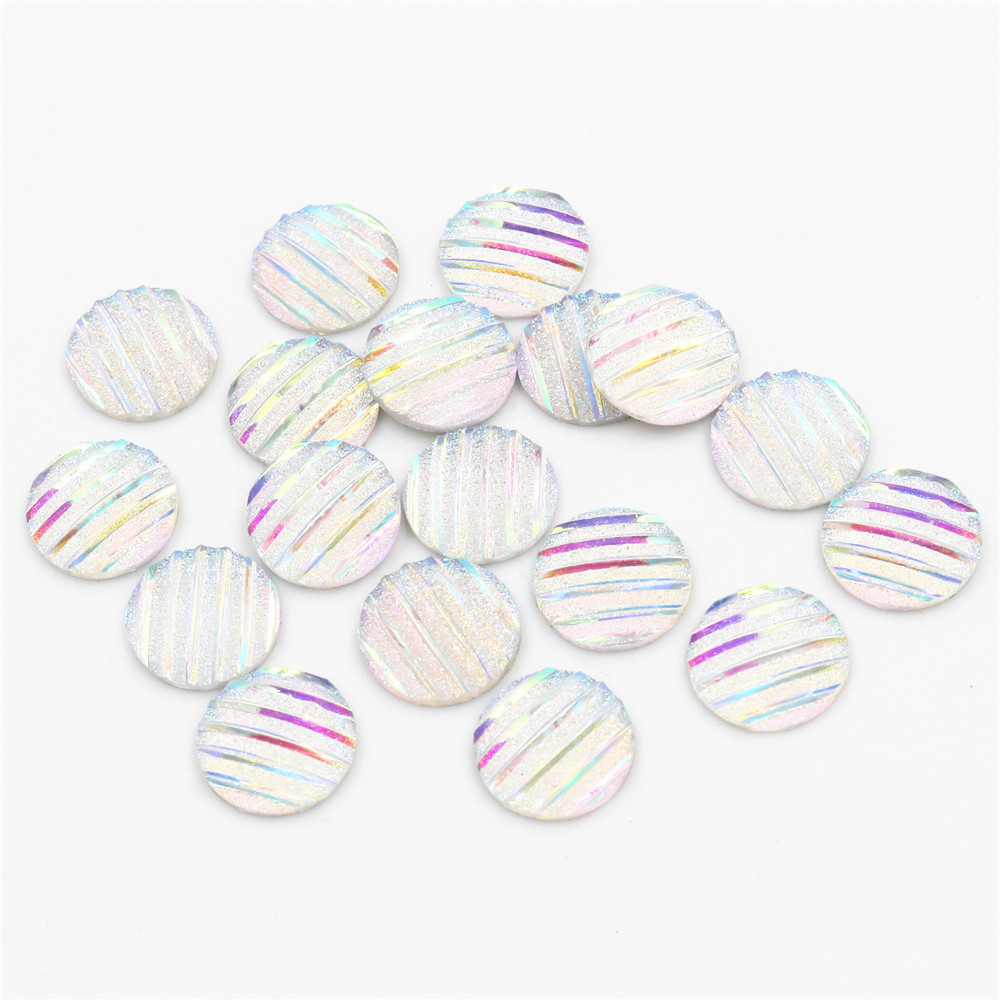 New Fashion 40pcs 12mm Transparent AB Scrub Stripe Horizontal Line Flat Back Resin Cabochon For Bracelet Earrings Accessories