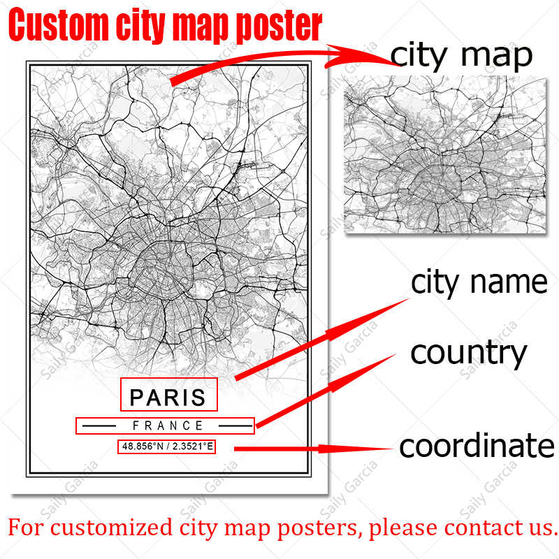 custom city map print with watercolor wall art decor framed on canvas black and white street names poster maps design gift