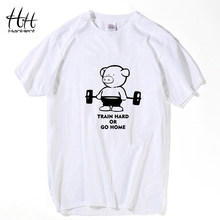 HanHent Fitness Pig Printed T Shirt Men Train Hard Or Go Home Cotton Casual T-Shirt Sportswear Animal Top Tees Fitness Clothing(China)