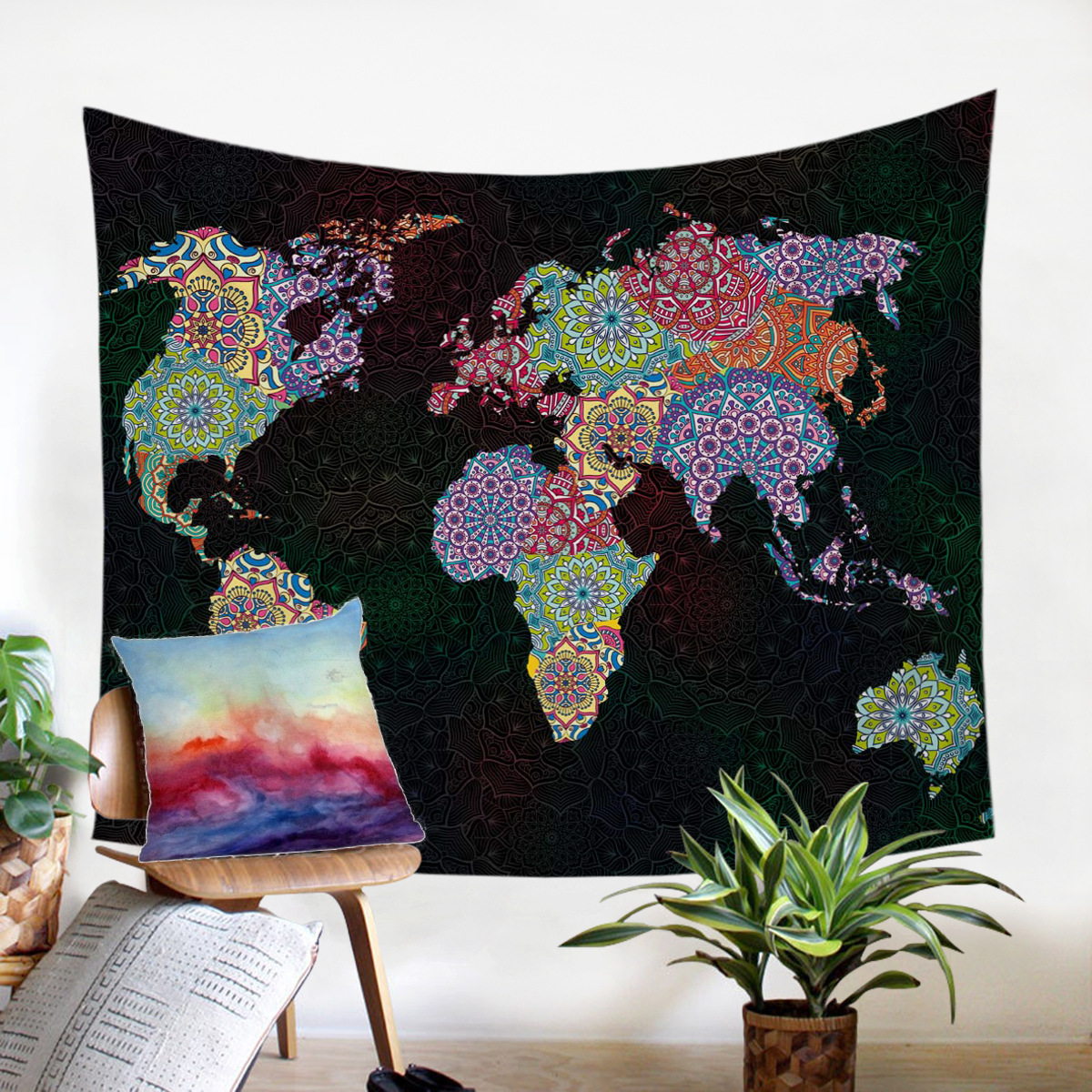 Pattern map European and American bedroom living room home decoration tapestry image