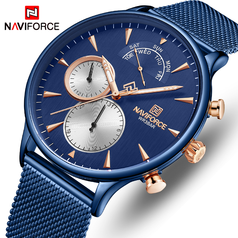 NAVIFORCE Men Watches Top Brand Simple Quartz Waterproof Wrist Watch Mens Full Steel Sports Male Clock Date Relogio Masculino