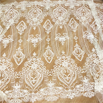 New high-end luxury sequined mesh embroidery hollow wedding dress fabric handmade DIY material white wedding dress lace 110cm wide wedding dress lace embroidery diy women clothes materials clothing fabric accessories ivory white church happy hour