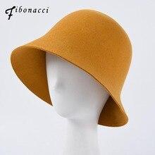 Фибоначчи новинка осень зима женские фетровые шляпы из шерсти Модные одноцветные фетровые шляпы