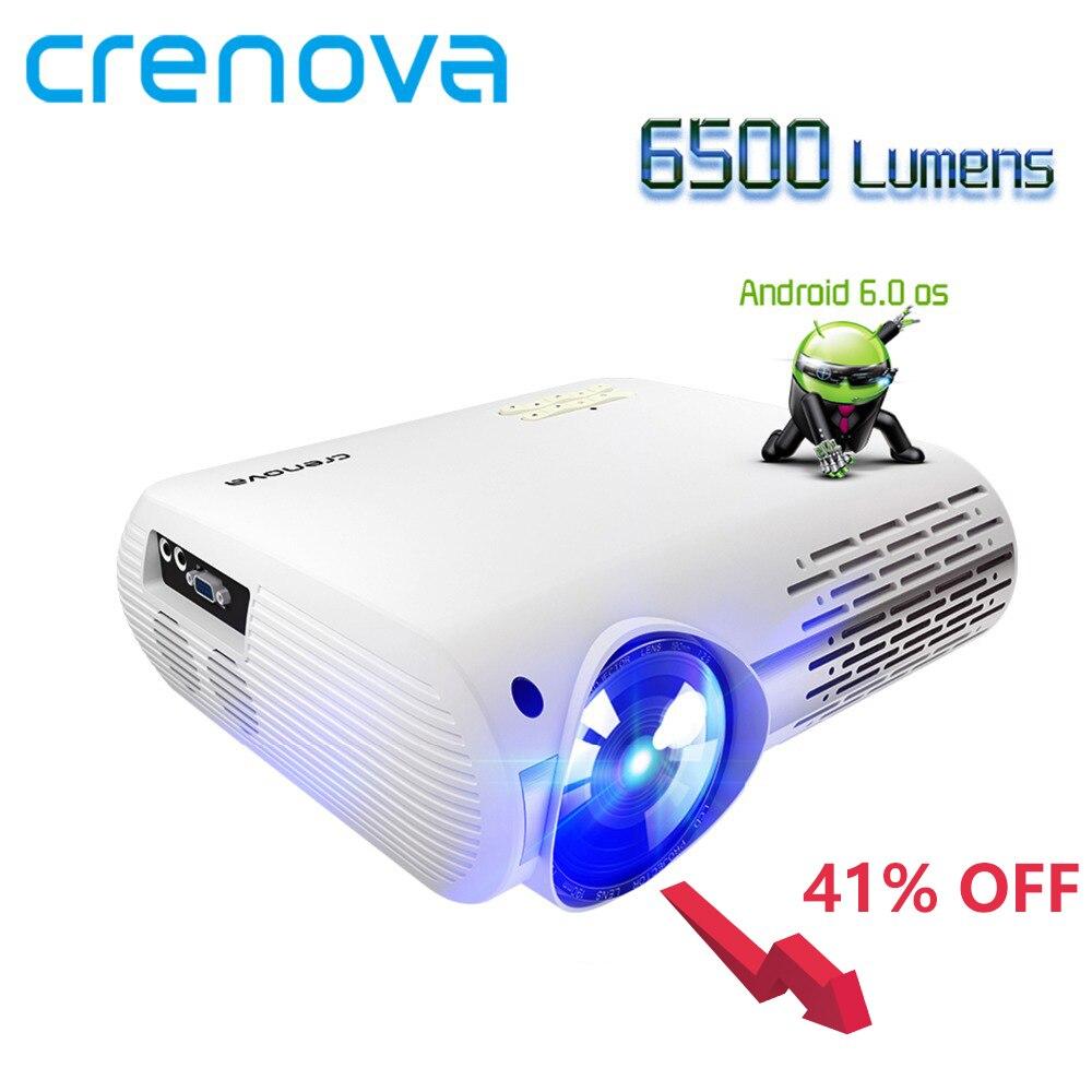 Crenova mais novo projetor de vídeo para hd completo 4 k * 2 k cinema em casa projetor com 5g wifi android 6.0 os 6500 lumens proyector