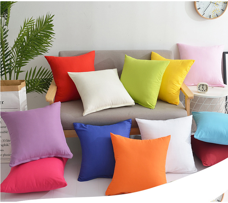 New Home Decorative Solid Pillowcases Cotton Linen Square Bedding Pillows Cover Soft Pillow Case Chair Wedding 45x45cm