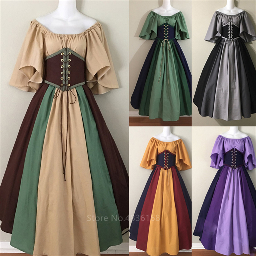 Palace Medieval Costume Women Halloween Dress Vintage Victoria 2PCS Vintage Carnival Party Long Robe Cosplay Fancy Clothing
