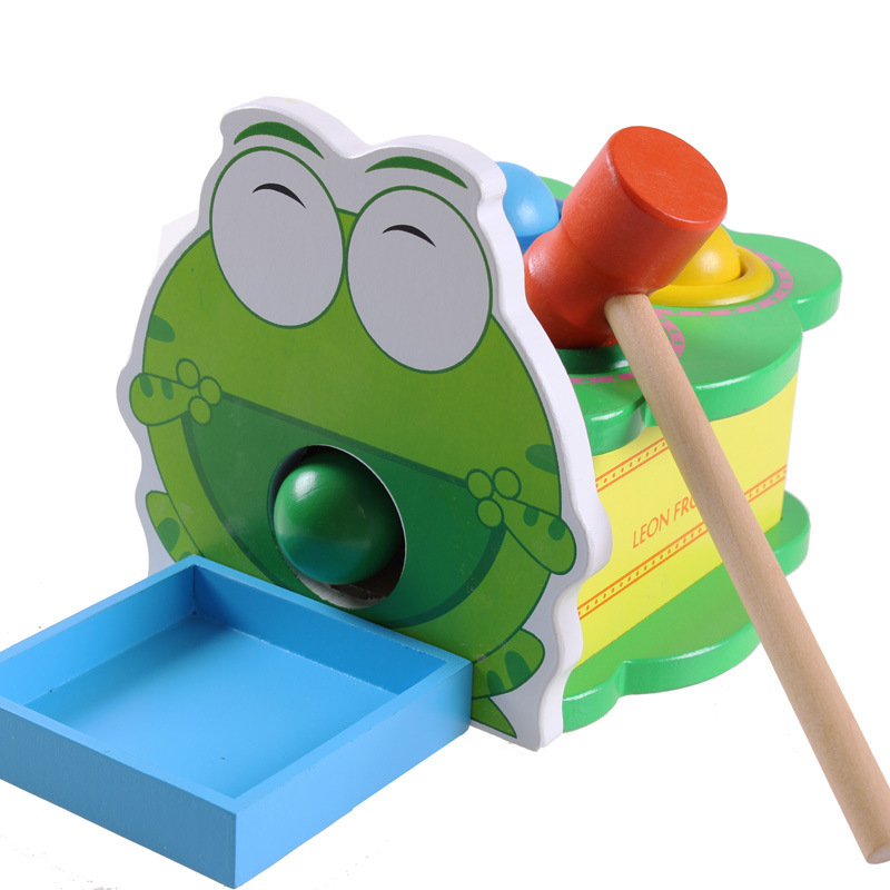 Wooden Toys Montessori Cartoon Frog Hand Knocking Ball Table Hammer Box Early Educational Toys For Children Kids Baby