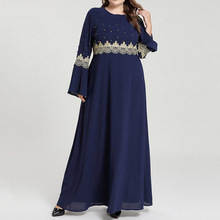 Muslim Plus Size Dress Spring Autumn The New Fashion Loose Simple Elegant Thin Best Sellers Beading Round Neck Flared Sleeves