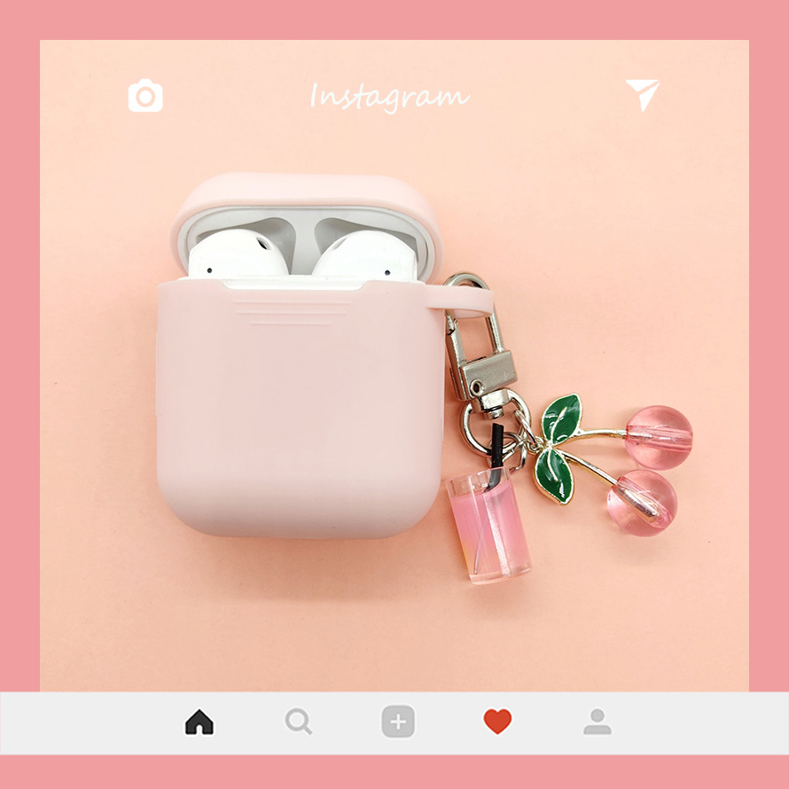 Cute Korean Silicone Case for Apple Airpods Case Accessories Bluetooth Earphone Sweet Protective Cover Cherry Milk Tea Key Ring