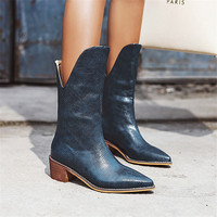 2019 Autumn Winter Casual Western Cowboy Ankle Boots Women Snake Leather Cowgirl Booties Short Cossacks botas High Heels Shoes