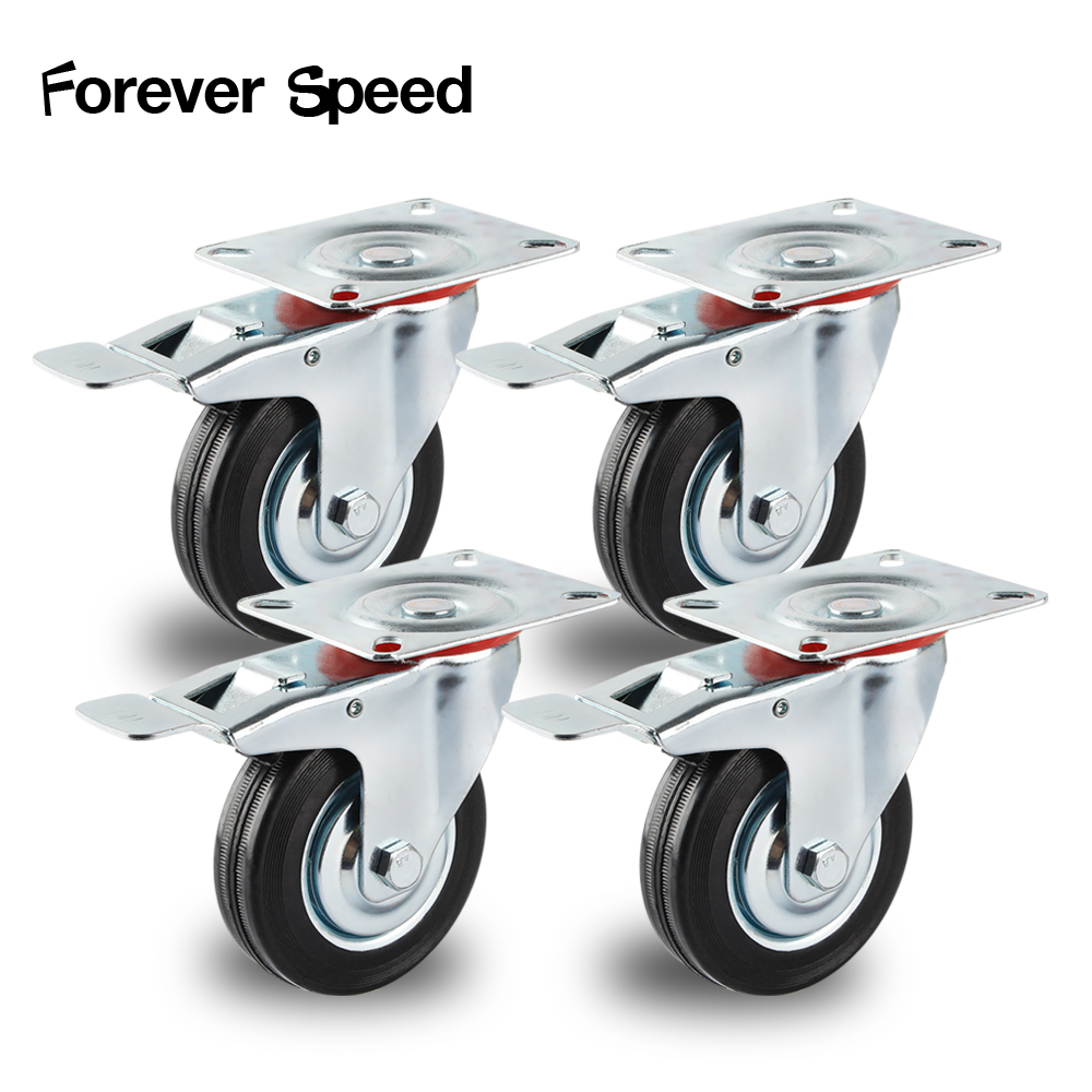 Rodas 4 dos pces 75mm rodas resistentes do rodízio da mobília do trole do rodízio do giro 200kg rodízio de borracha do freio ruedas para mueble