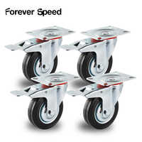 Ruedas 4 Uds 75mm Heavy Duty 200kg ruedas giratorias Trolley ruedita de goma para muebles Carro de freno ruedas para mueble