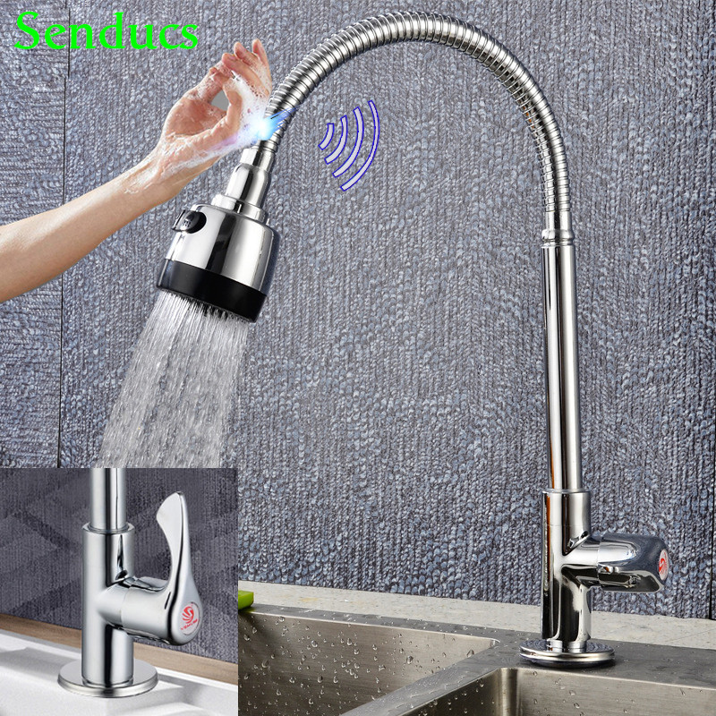 Touch Kitchen Faucet Senducs Single Cold Kitchen Sink Faucet Touch Kitchen Mixer Tap Quality Zinc Alloy Cold Kitchen Faucet