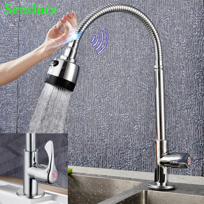 Touch Kitchen Faucet Senducs Single Cold Kitchen Sink Faucet Touch Kitchen Mixer Tap Quality Zinc Alloy Cold Kitchen Faucet