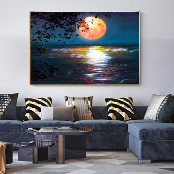 Abstract Sunset and Moon Artwork Picture Printed on Canvas 1