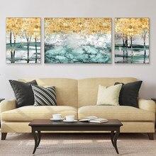 Lona abstrata moderna pintura a óleo artesanal folhas de ouro posters arte da parede fotos para sala estar quarto decorativo