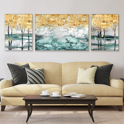 Modern Canvas Abstract Handmade oil Painting Golden Leaves Posters Wall Art Pictures for Living Room Bedroom Decorative