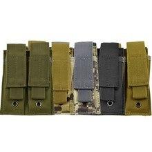 Caça airsoft pistola dupla mag bolsa 5.56 9mm tático molle revista bolsa para saco ao ar livre equipamentos colete acessórios