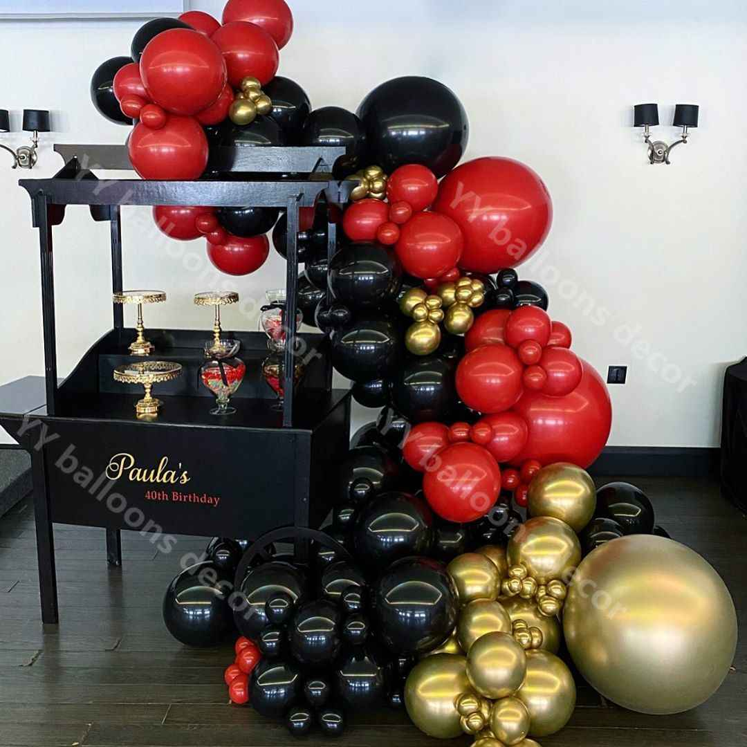 DIY Baby Shower 134pcs/lot Latex Balloon Garland Arch Kit Black Red Metal Gold Hawaii Summer Party Wedding Birthday Decor