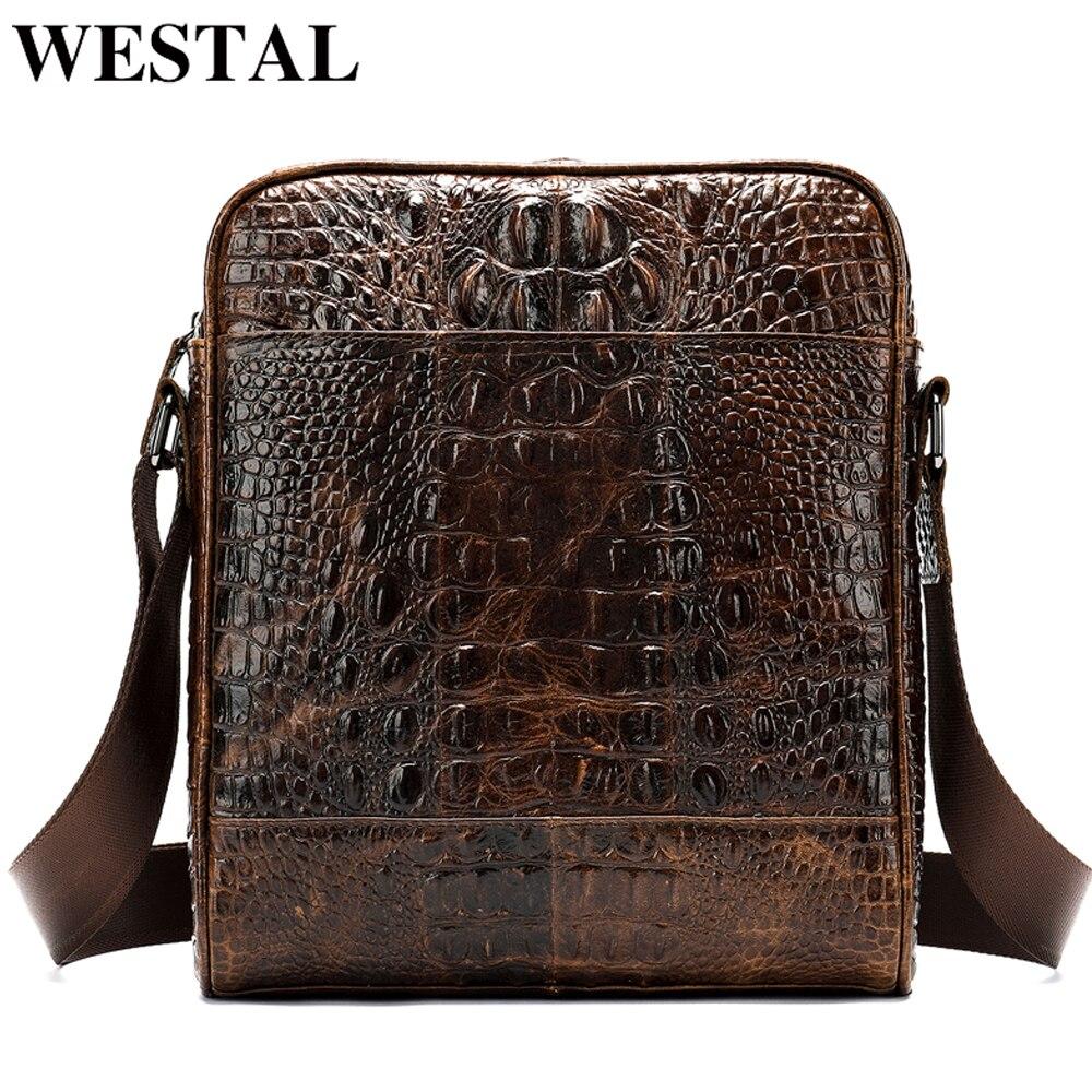 WESTAL men's shoulder bag genuine leather bag for men crocodile pattern men's bags vintage messenger bag men's crossbody bag 222