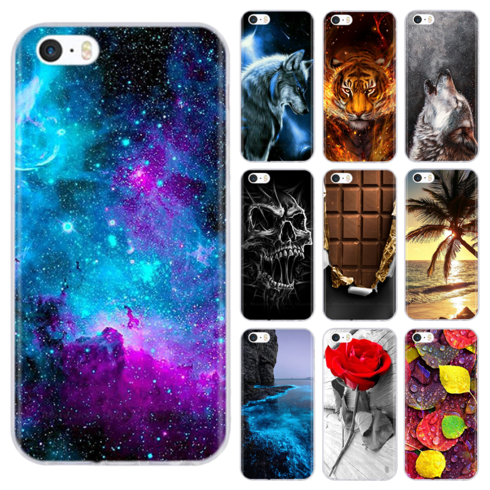 Ultra Thin Clear Mobile Phone Bag Case for iPhone 5 5S SE 2020 6 6S 7 8 4 4S Back Cover Transparent Patterned Funda Bumper Coque