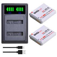 2 uds NB-6L NB 6L NB-6LH NB 6L batería + LED Dual del cargador del USB tipo C para Canon PowerShot SX240 SX275 SX280 SX510 SX500 D30 S90